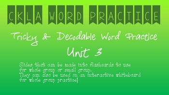 CKLA Kindergarten Skills Unit 3 Word Practice