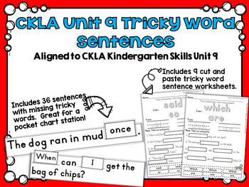 CKLA Kindergarten Skills Unit 9 Tricky Word Activities