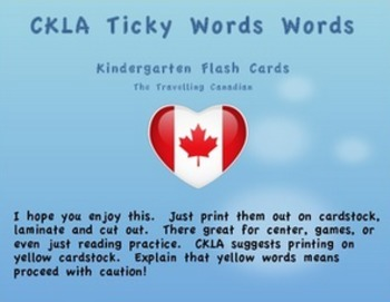 CKLA Kindergarten Tricky Words