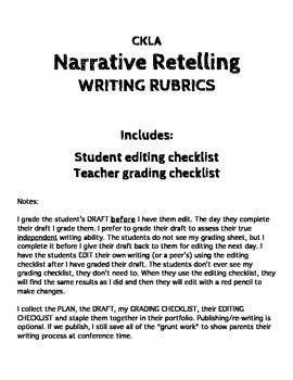 CKLA - Narrative Retell WRITING RUBRIC