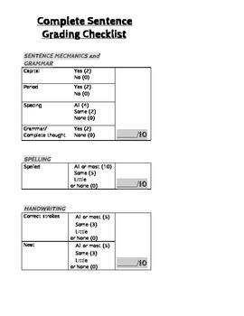CKLA Skills - Complete Sentence WRITING RUBRIC