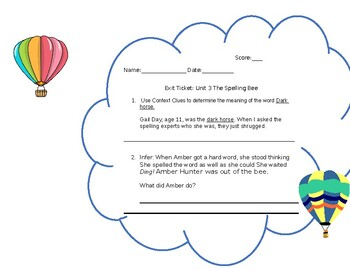 "CKLA Skills Reader Unit 3 ""Kids Excel"" The Spelling Bee Exit Ticket"