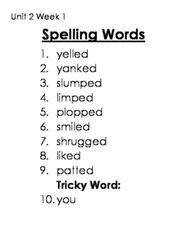 CKLA Skills Spelling Lists Unit 1 and 2 2nd Grade