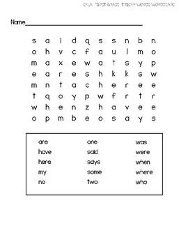 CKLA Skills Strand- Grade 1- Tricky Words Word Search