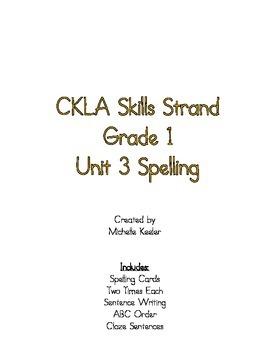CKLA Skills Strand: Grade 1 Unit 3 Spelling