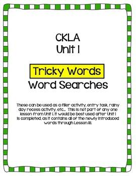 "CKLA Skills Unit 1 ""Tricky Words"" Word Search"