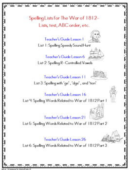 CKLA Spelling Unit 6 - The War of 1812 Second Grade