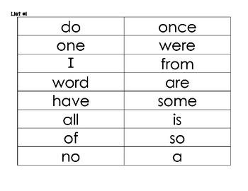 CKLA Tricky Word Fluency Tracker