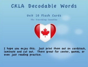 CKLA Kindergarten Unit 10 Decodable Words Flash Cards