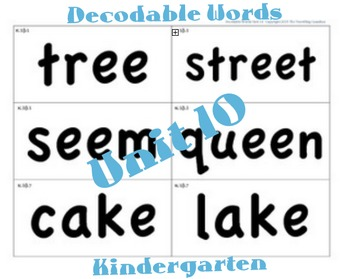 CKLA Kindergarten Unit 10 Decodable Words Flash Cards
