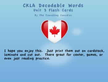 CKLA Kindergarten Unit 3 Decodable Words Flash Cards