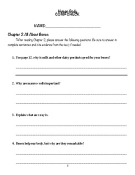 CKLA, Unit 3, Human Body, Comprehension Packet for Readers