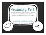 Kindergarten CKLA Unit 3 Vocabulary Sort
