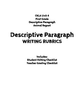 CKLA Unit 4 {First Grade} Descriptive Paragraph Editing/Grading Checklists