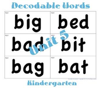 CKLA Kindergarten Unit 5 Decodable Words Flash Cards