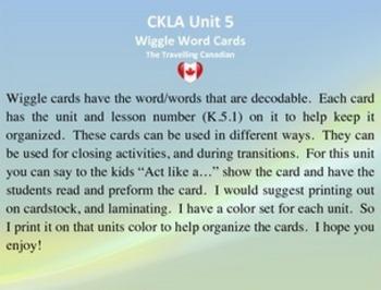 CKLA Kindergarten Unit 5 Wiggle Words Cards