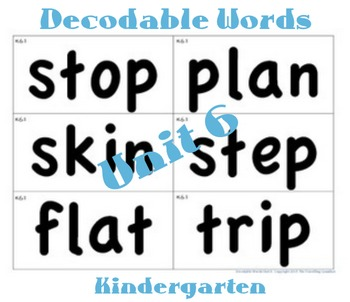 CKLA Kindergarten Unit 6 Decodable Words Flash Cards