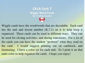 CKLA Kindergarten Unit 7 Wiggle Words Cards