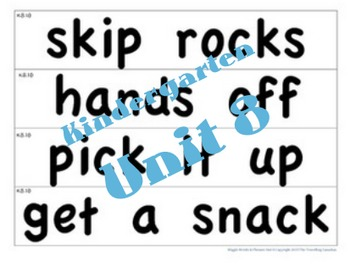 CKLA Kindergarten Unit 8 Wiggle Words Cards