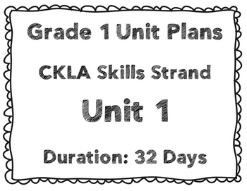 CKLA First Grade Unit Plans for Units 1-3