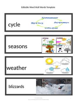 CKLA Word Wall Seasons and Weather