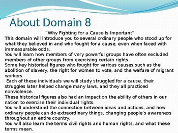CKLA domain 12 lesson 1 Fighting for a cause