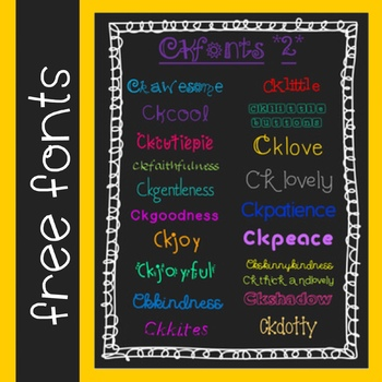 CKfonts {Set 2} Free Fonts for Teachers! (20 Fonts for Personal & Classroom Use)