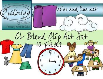 CL Blend Phonics Clip Art Set - Color and Line Art 10 pc set