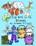CL Blends Phonics Clip Art - Color and Black Line - Realistic - 300 dpi PNG's