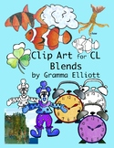 CL Blends Phonics Clip Art - Color and Black Line - Realis