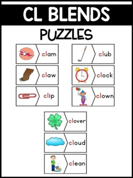 CL Blends Phonics Center:  Picture and Word Match Puzzles