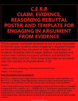 CLAIM, EVIDENCE, REASONING REBUTTAL POSTER AND TEMPLATE