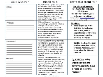 CLAIM EVIDENCE REASONING REBUTTAL Rapid and Slow Life History Foldable