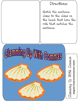 CLAMMING UP WITH COMMAS File Folder Grammar Game
