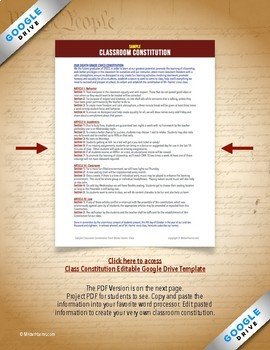 CLASS CONSTITUTION: Create Your Own Classroom Constitution With Preamble