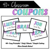 CLASS COUPONS SET! 40 Pre-Made Coupons for Classroom Rewar