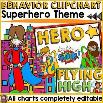 SUPERHERO CLASS DECOR: EDITABLE BEHAVIOR CLIP CHART: BEHAVIOR MANAGMENT