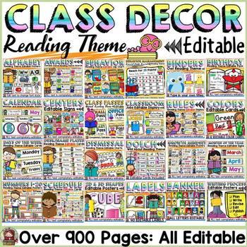 EDITABLE CLASS DECOR BUNDLE: READING THEME