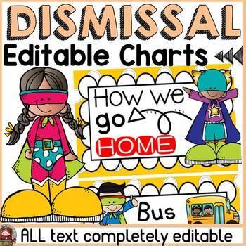 Superhero Class Decor Editable Dismissal Chart By Teach To Tell