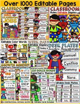 CLASS DECOR: MEGA BUNDLE: SUPERHERO THEME: BACK TO SCHOOL