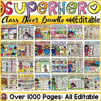 CLASS DECOR: EDITABLE MEGA BUNDLE: SUPERHERO THEME: BACK TO SCHOOL