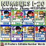 SUPERHERO CLASS DECOR: EDITABLE NUMBER POSTERS
