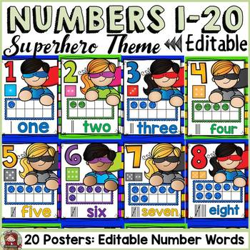 SUPERHERO CLASS DECOR: EDITABLE NUMBER POSTERS
