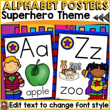 SUPERHERO THEME CLASS DECOR: EDITABLE ALPHABET POSTERS