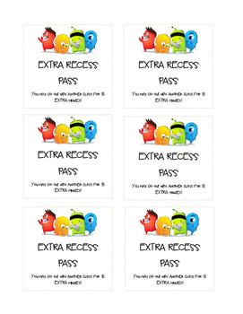 CLASS DOJO - Extra Recess Pass