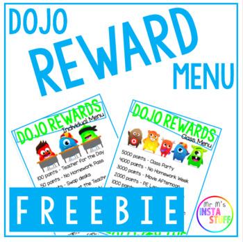 DOJO Rewards Menu - FREEBIE