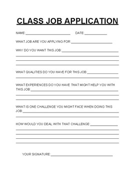 CLASS JOB APPLICATION FORM