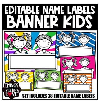 Nameplates - Kids Holding Blank Placard, Set of 28, A3 size
