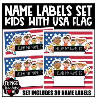 d487561efc42 ... USA Flag Patriotic Desk Plates Name Labels for Classroom Decor