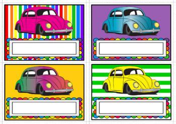 Nameplates - VW Beetles Theme (Blank Boxes), Set of 28, A3 size